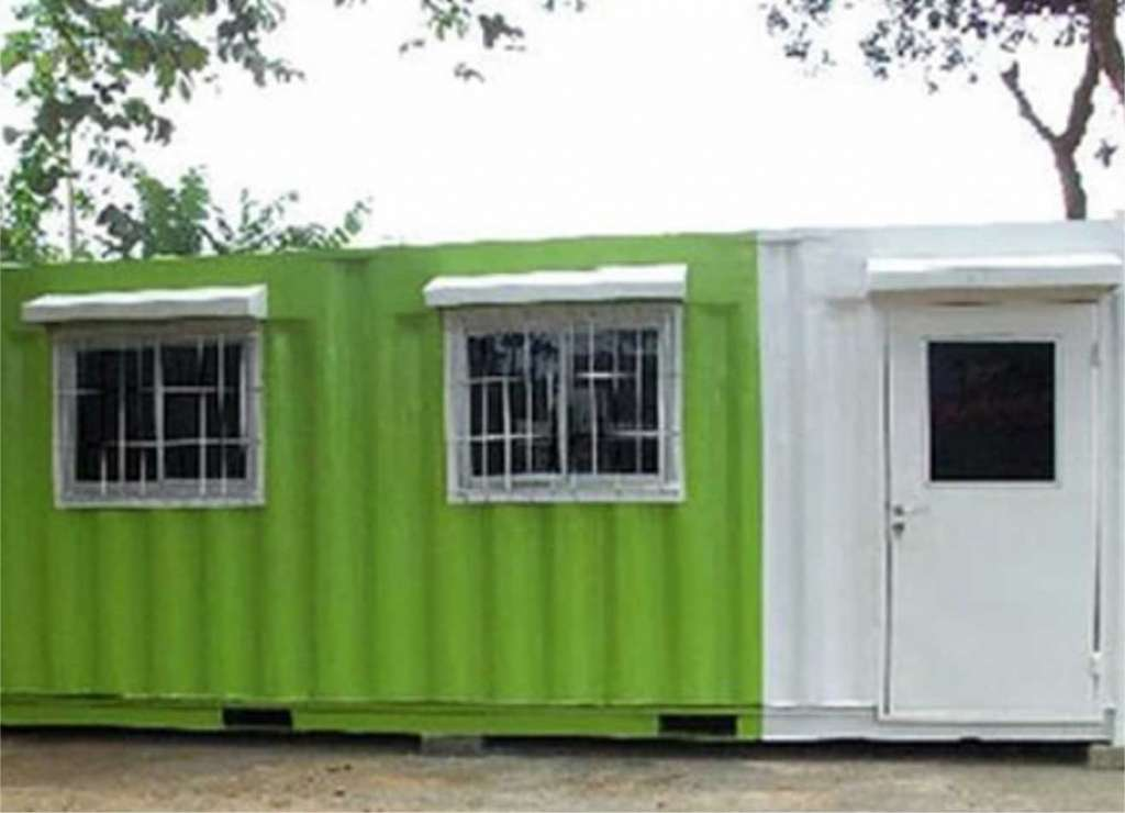 specialized shipping container units converted into living or working space with lighting, windows and special flooring