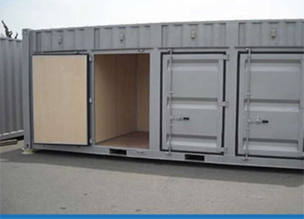 storage trailers converted to temporary restaurants, retail stores, lockers/on-site storage, offices, houses, walk-in coolers, greenhouses, communication centers, emergency care centers