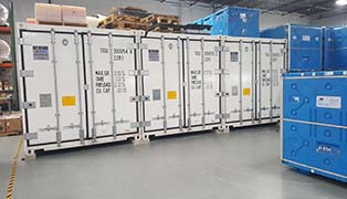 display of cold storage containers
